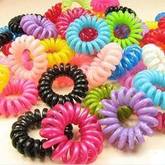 80 pcs de la manera del color del caramelo de teléfono cable línea de cintas para el pelo elástico de alta calidad anillo de goma de cuerda de pelo horquillas sólidos hairband