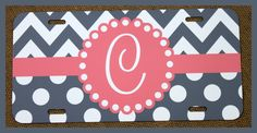 License Plate Car Tag Personalized Monogrammed Car Tag Car Accessories Chevron License Plates New Car Sweet 16Cute Car Accessories For Women by ChicMonogram on Etsy https://www.etsy.com/listing/199826123/license-plate-car-tag-personalized