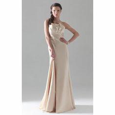 Sheath/ Column Strapless Floor-length Satin Bridesmaid Dress