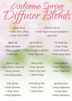 It's almost Spring here in our area of the country, and what better time to conjure up some diffuser blends to help us welcome warmer weather!