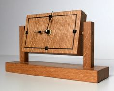 A shelf clock made from quarter sawn oak, handmade by David Towers cabinet-maker www.davidtowers.biz