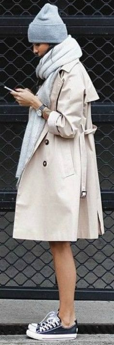 If you don't mind the cold too much, the above Converse outfit works. Wear them with a trench, grey scarf and beanie. Via Unknown Blogger