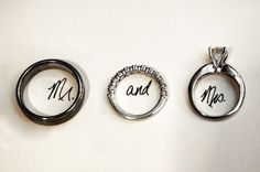 "So cute!! except engagement ring on ""and"" and wedding band on ""Mrs"" ;)"