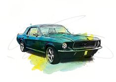 Car Painting, Painting Prints, Paintings, Mustang Drawing, Ford Mustang Classic, Car Prints, Body Drawing Tutorial, Bike Poster, Commercial Art