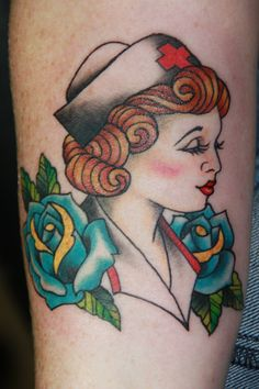 Beautiful Blue Roses And Nurse Tattoo For Girls
