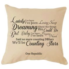 One Republic Counting Stars Song Lyrics Cushion Great For your Sofa Perfect Gift For Him / Her