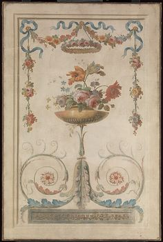 Vase of Flowers Resting on Foliate Scrolls French Painter, 18th century