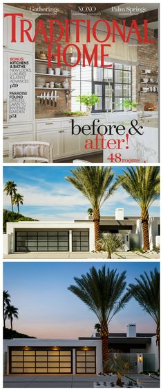 Designer Christopher Kennedy used contemporary Clopay Avante Collection glass garage doors in the transformation of a midcentury home in Palm Springs. www.clopaydoor.com