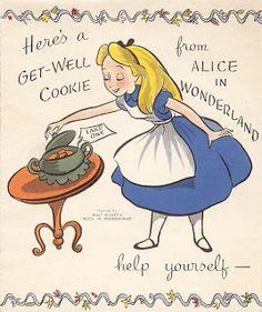 Vintage Disney Alice in Wonderland: Vira Get Well Card 5X-418-WD
