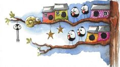 Original watercolor painting whimsical bird tree birdhouse star chameleon spider #IllustrationArt
