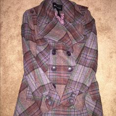 🍷Olivia Pope🍷style Peacoat Plaid 🔮Purple tones plaid peacoat. 🔮Never used. Great condition. 🔮*check my other listing for more pics*🔮 Price firm. Moda International Jackets & Coats Pea Coats