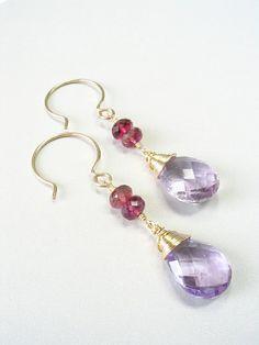 Handmade Violet Tanzanite Golden Citrine Pink Tourmaline 925 Sterling Silver Earrings Fine Art Earrings Natural Stone Earrings