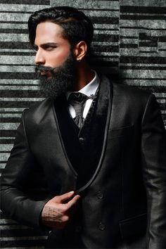 Black Italian Jacquard Tuxedo Suits-ST526