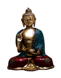 "(sku no;buddha brass statue_224) Indian Religious Lord Buddha with Turquoise Handmade Brass Idol Sculpture Statue 6""x4.6"""