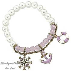 Nautical Anchor Wheel Life Ring Charm Bracelet Adjustable Pearl Gold Purple #Redwood