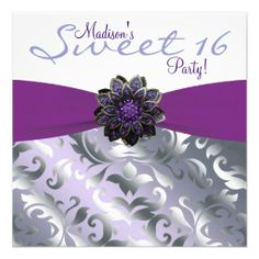 Purple and Gray Sweet 16 Birthday Party Personalized Announcements