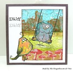 Tim Holtz Crazy Birds on a stamped card, made by Alie Hoogenboezem-de Vries