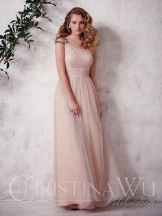 CHRISTINA WU | Available at: Party Dress Express | 657 Quarry Street | Fall River, MA | (508) 677-1575 | partydressexpress.com #bridesmaids #bridesmaiddress #wedding #tulle #oneshoulder