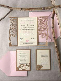 Laser cut wedding invitations from @4LOVEPolkaDots