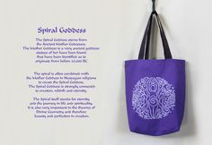 Hand Printed Spiral Goddess Tote Bag by Imogen Smid of the Stag's Head Studio - Mother Goddes, Earth Goddess, Wicca, Wiccan Altar, Pagan Altar, Triple Moon, Trifold Goddess, Wicca Bag
