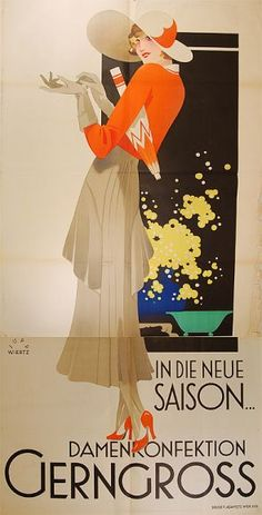 """Circa 1930 """"new season women's clothing"""" ad. Beautiful colors and composition!"""