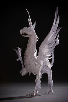 Paper and wire griffin sculpture