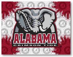 Alabama Crimson Tide D1 Printed Elephant Logo Canvas.  Visit SportsFansPlus.com for Details.