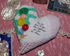 My lavender heart sachet made from an old quilt...in my etsy shop (threadsofsanity)