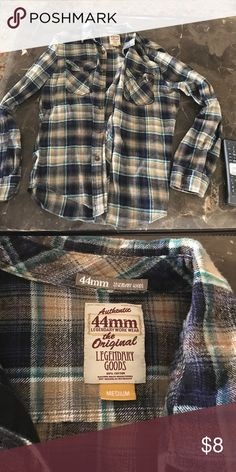Men's 44mm workwear flannel Men's green and blue flannel. Excellent condition. 44mm legendary workwear Shirts Casual Button Down Shirts