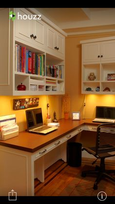 Home Office Design Ideas - A clean workspace is key to having an uncluttered mind and a great way to foster productivity. Here are seven helpful tips to organize your office. Office Nook, Home Office Space, Home Office Design, Home Office Furniture, Home Office Decor, Home Decor, Office Designs, Small Office, Furniture Ideas