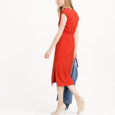 Perforated drapey crepe dress : day | J.Crew