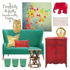 """""""Incandescently Happy"""" by claudiamcbain ❤ liked on Polyvore featuring interior, interiors, interior design, home, home decor, interior decorating, CB2, The Pillow Collection, The Elephant Family and Cultural Intrigue"""