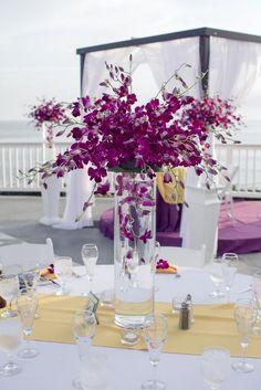 Featured Photographer: Steph Grant Photography; Purple wedding centerpiece idea