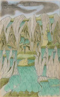 "treeknot:  Joseph Yoakum  Mtns Caernaryon, 1968-69  Ballpoint pen, pastel, and colored pencil on paper  11 7/8 x 9"""