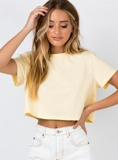 Shop Princess Polly women's online fashion boutique for the latest styles & trends of Tops! Buy now, pay later with Afterpay. Yellow Tees, Yellow Crop Top, Crop Top Outfits, Cute Casual Outfits, Glenda, Summer Outfits For Teens, Cute Crop Tops, Simple Shirts, Princess Polly