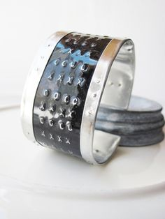 X S And O Tin Cuff Bracelet Textured 10th Anniversary