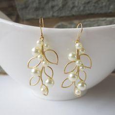 Pearl Leaf Dangle Earrings - Gold Drop Earrings, Wedding Jewelry, Bridesmaid, Bride, Ivory Champagne Pearl, Leaf Pendant, Personalized