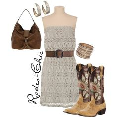 Strapless dress with cowboy boots by @Ariat , Western, Country
