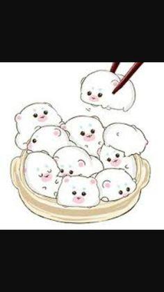 รูปภาพ kawaii, cute, and food Cute Kawaii Drawings, Cartoon Drawings, Adorable Drawings, Kawaii Chibi, Kawaii Cute, Hamsters, Cyberpunk Anime, Bunny Drawing, Chibi Food