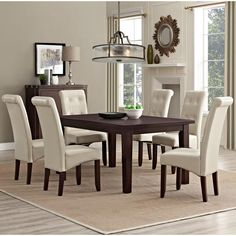 Cosmopolitan Solid Wood and Faux Leather 7-Piece Dining Set in Satin Cream