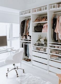 Home Office Closet, Ikea Closet, Closet Bedroom, Master Bedroom, Walk In Closet Design, Closet Designs, Wardrobe Organisation, Home Organization, Organisation Ideas