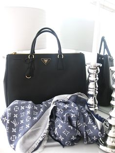Prada Black Bag and Louis Vuitton Blue Scarf | The Finer Details