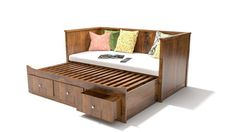 Swen is a classic sofa bed that has a wooden frame on three sides. This storage bed also comes with storage drawers at the bottom. You can convert this sofa into a bed by pulling out the base and adjusting the extra bed on it.