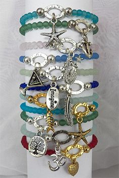 Sea Glass and Nautical Charm Bracelets from CoastalGifts.com. They have a huge selection of beachy jewelry all under $50! A perfect Christmas present for the sea lover in your family.