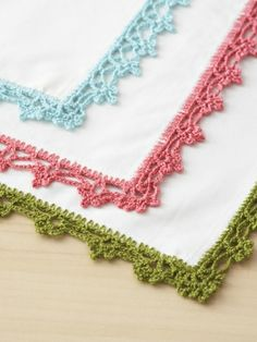 I love lace edgings! This pattern is Bernat's Lace Napkin Edgings, but I see another trim for my beloved hankies. :)