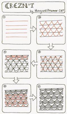 CREZNT - a new tangle pattern. Margaret Bremner, CZT; www.enthusiasticartist.blogspot.com