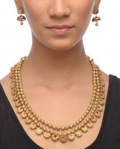 Golden Beaded Terracotta Necklace Set