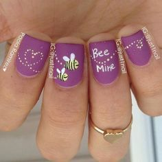 Purple Matte 'Bee Mine' Nails