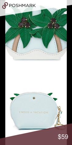 """Kate Spade Breath of Fresh Air Coin Purse Adorable Kate Spade change purse from the Breath of Fresh Air collection. 3D palm trees with gems as coconuts. """"I Need a Vacation"""" printed on back in gold. kate spade Bags"""
