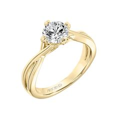 Artcarved Bridal: Kennedy, Yellow Gold Contemporary Diamond Solitaire Split Shank Engagement Ring, #31-V677ERY